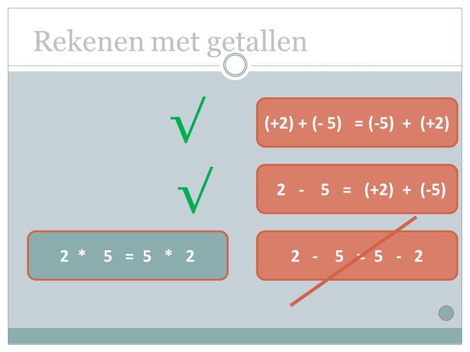 Rekenen met getallen 2 * 5 = 5 * 22 - 5 = 5 - 2 2 - 5 = (+2) + (-5) (+2) + (- 5) = (-5) + (+2) √ √