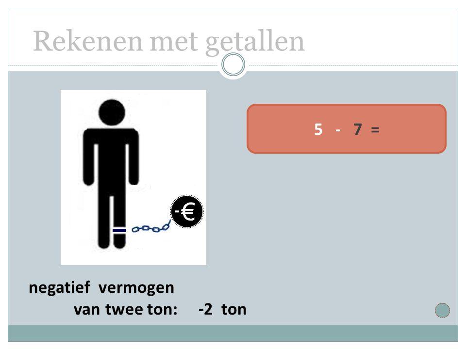 Rekenen met getallen 5 - 7 = negatief vermogen van twee ton: -2 ton
