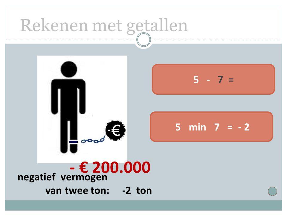 Rekenen met getallen 5 - 7 = 5 min 7 = - 2 - € 200.000 negatief vermogen van twee ton: -2 ton