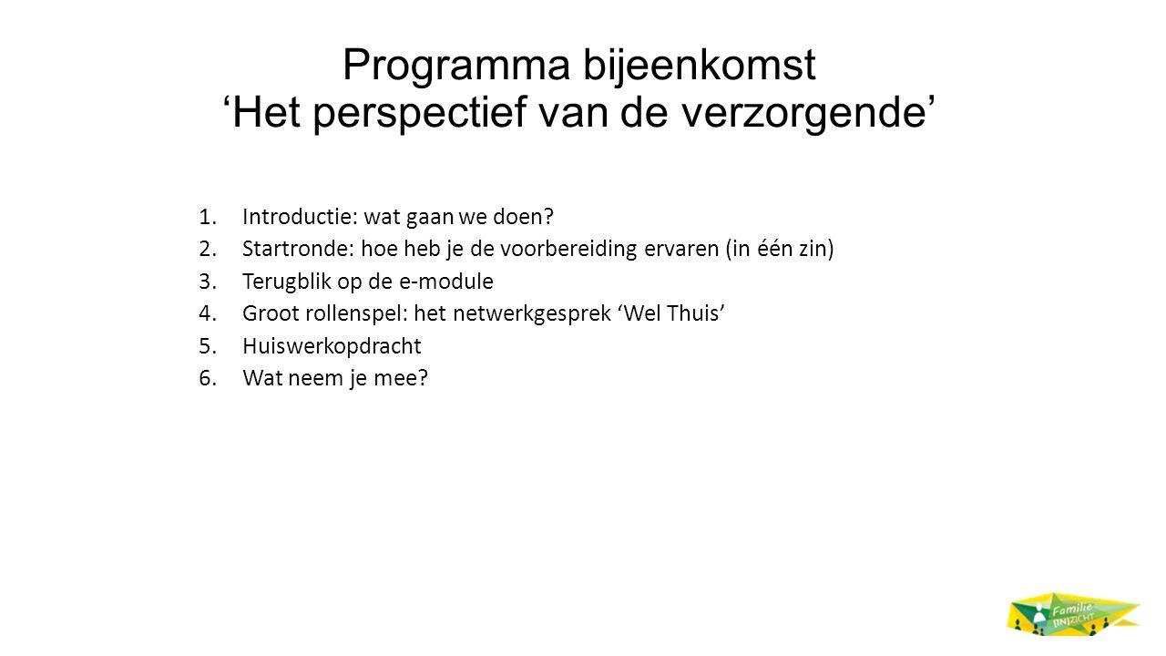 Programma bijeenkomst 'Het perspectief van de verzorgende' 1.Introductie: wat gaan we doen? 2.Startronde: hoe heb je de voorbereiding ervaren (in één