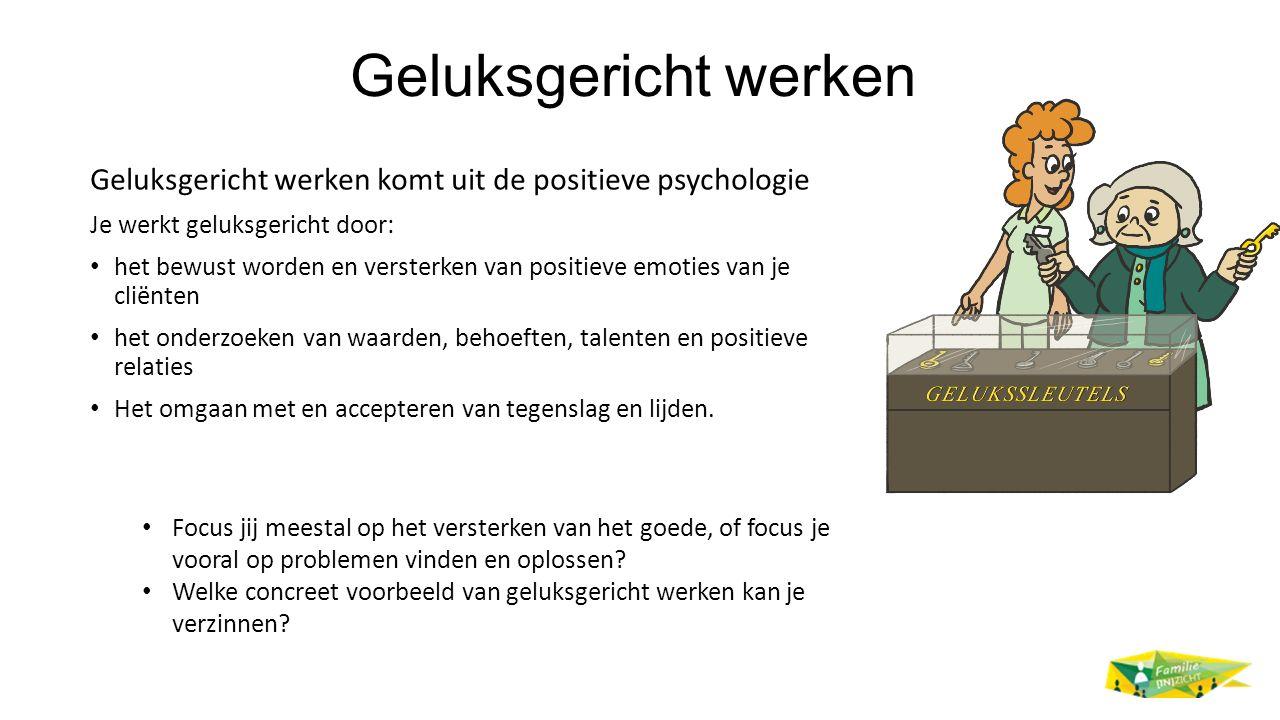 Geluksgericht werken Geluksgericht werken komt uit de positieve psychologie Je werkt geluksgericht door: het bewust worden en versterken van positieve