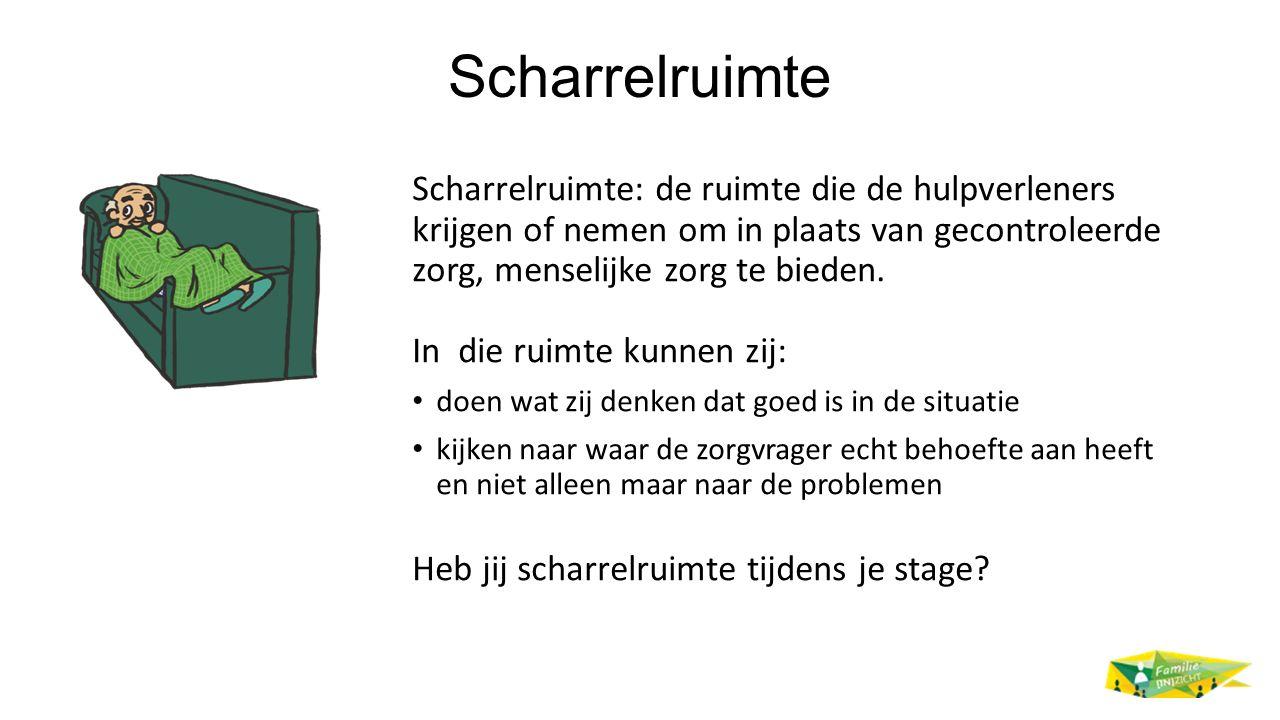 Scharrelruimte Scharrelruimte: de ruimte die de hulpverleners krijgen of nemen om in plaats van gecontroleerde zorg, menselijke zorg te bieden. In die