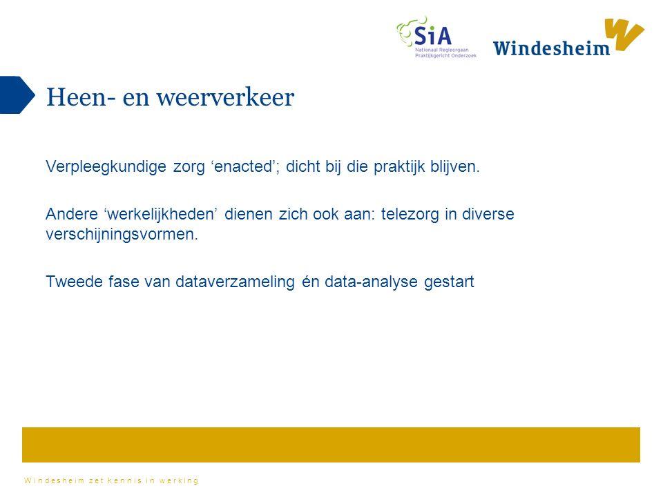 Windesheim zet kennis in werking Heen- en weerverkeer Verpleegkundige zorg 'enacted'; dicht bij die praktijk blijven.