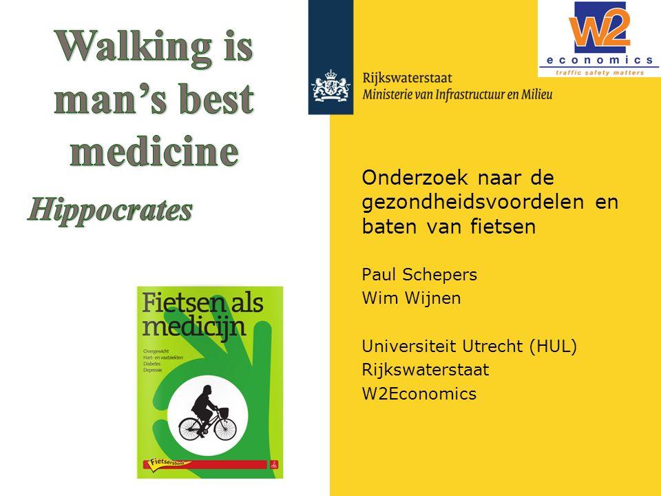 Rijkswaterstaat Gezondheidsbaten via 'all-cause mortality' (methode 1) HEAT methode (WHO): economische impact lopen en fietsen –Jaarlijks aantal bespaarde doden door de effecten volgens meta- analyse van Kelly et al (2014) –Monetaire waardering via VOSL Toepassing HEAT op fietsen in Nederland: –Fietsen bespaart 6500 doden per jaar –Totale baten fietsen: €19 miljoen per jaar, ofwel €1,29 per fietskm Beperkingen: Alleen sterfte (YLL) Houdt geen rekening met leeftijd