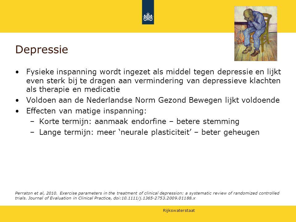 Rijkswaterstaat Depressie Fysieke inspanning wordt ingezet als middel tegen depressie en lijkt even sterk bij te dragen aan vermindering van depressie