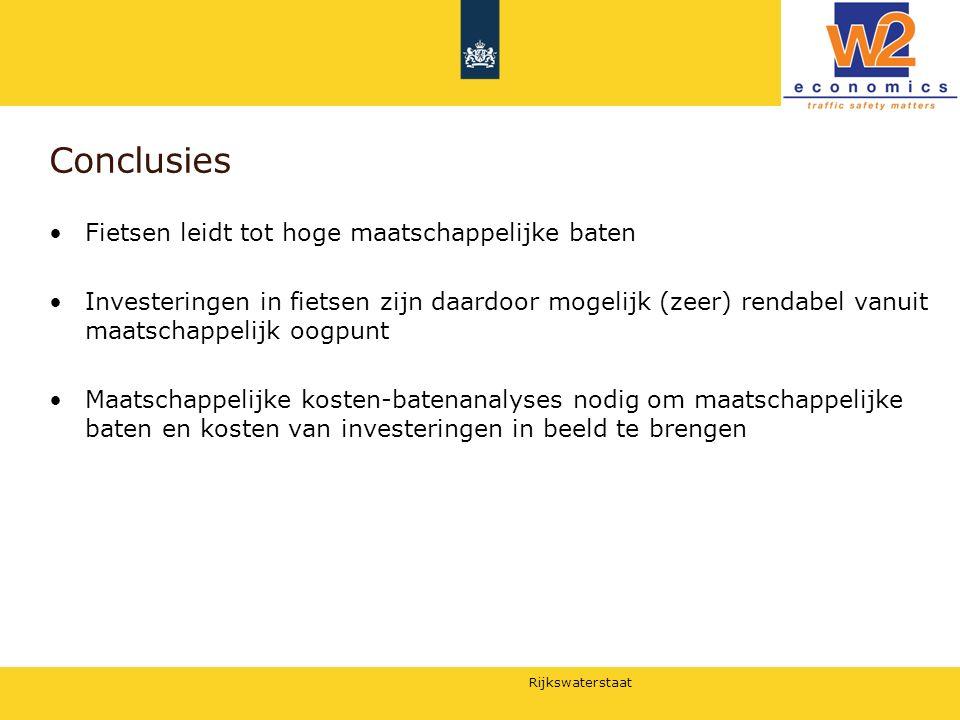 Rijkswaterstaat Conclusies Fietsen leidt tot hoge maatschappelijke baten Investeringen in fietsen zijn daardoor mogelijk (zeer) rendabel vanuit maatsc