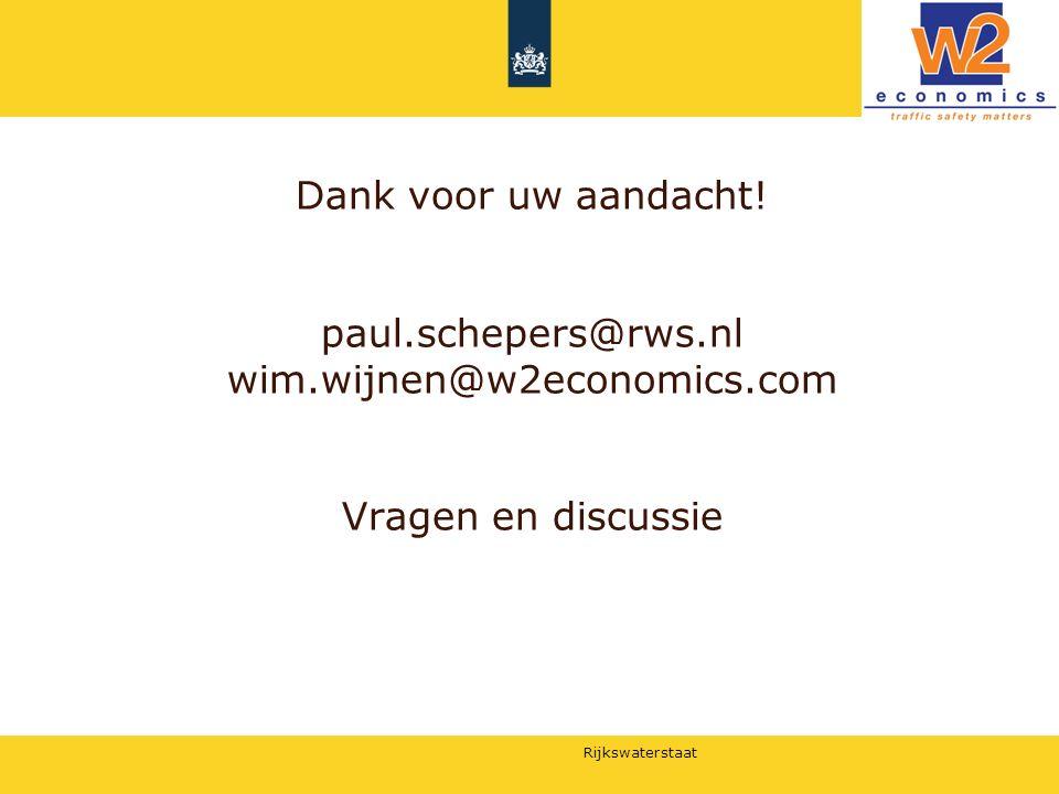 Rijkswaterstaat Dank voor uw aandacht! paul.schepers@rws.nl wim.wijnen@w2economics.com Vragen en discussie