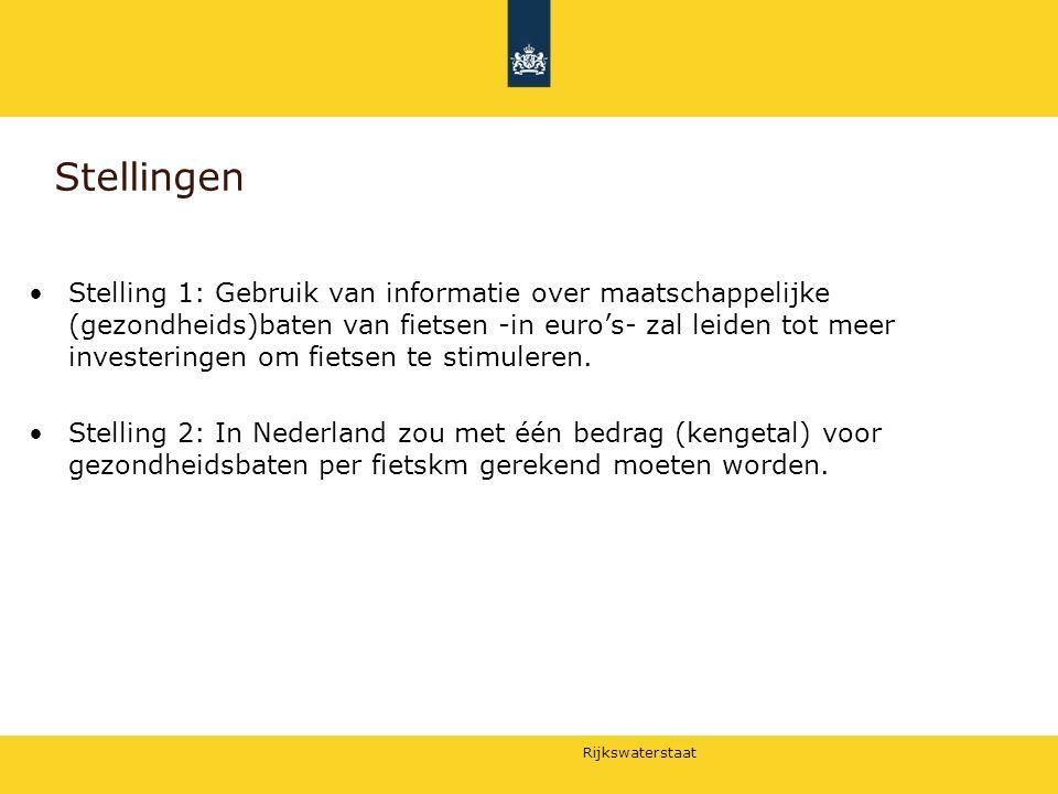 Rijkswaterstaat Stellingen Stelling 1: Gebruik van informatie over maatschappelijke (gezondheids)baten van fietsen -in euro's- zal leiden tot meer inv