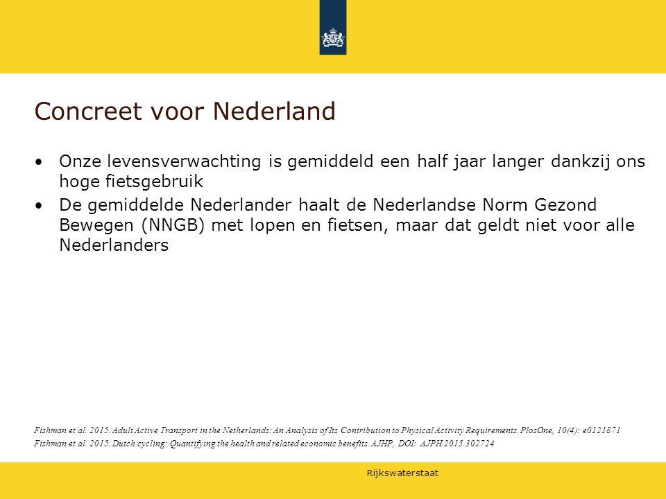 Rijkswaterstaat Concreet voor Nederland Onze levensverwachting is gemiddeld een half jaar langer dankzij ons hoge fietsgebruik De gemiddelde Nederland