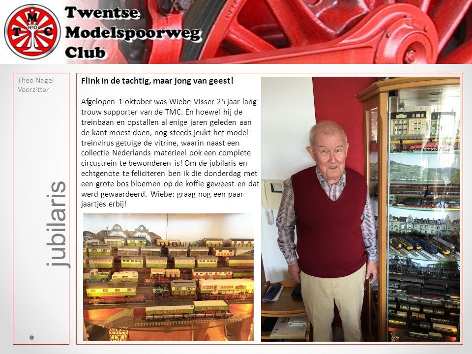 jubilaris Theo Nagel Voorzitter Flink in de tachtig, maar jong van geest! Afgelopen 1 oktober was Wiebe Visser 25 jaar lang trouw supporter van de TMC