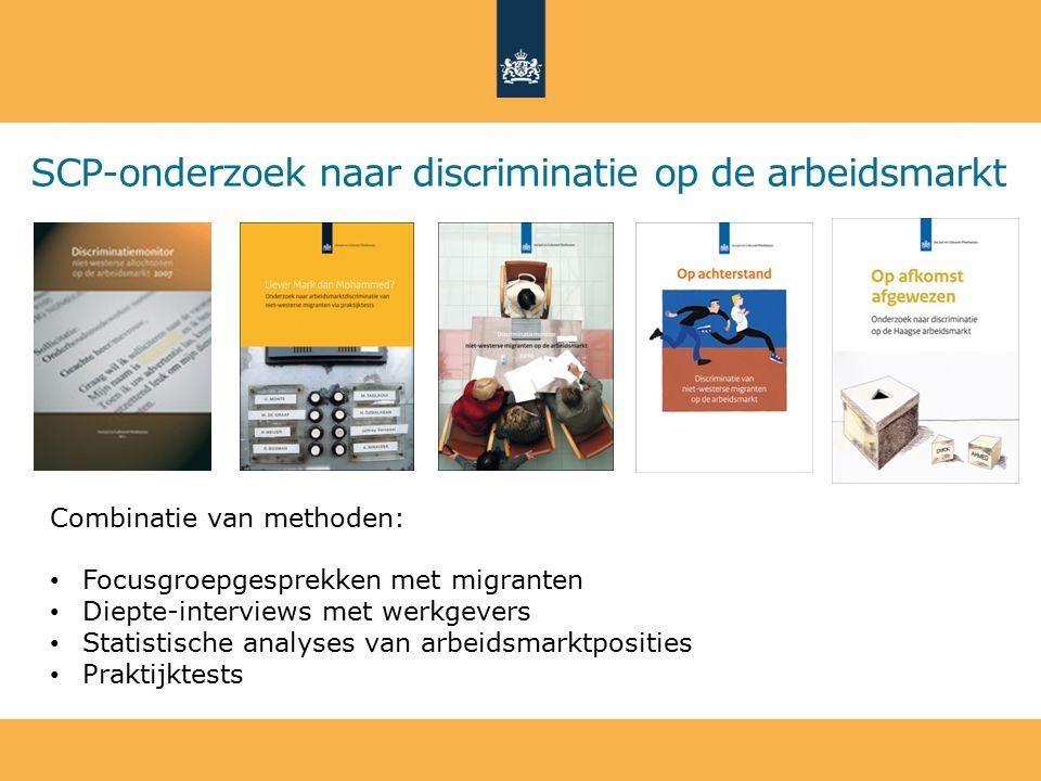 SCP-onderzoek naar discriminatie op de arbeidsmarkt Combinatie van methoden: Focusgroepgesprekken met migranten Diepte-interviews met werkgevers Stati