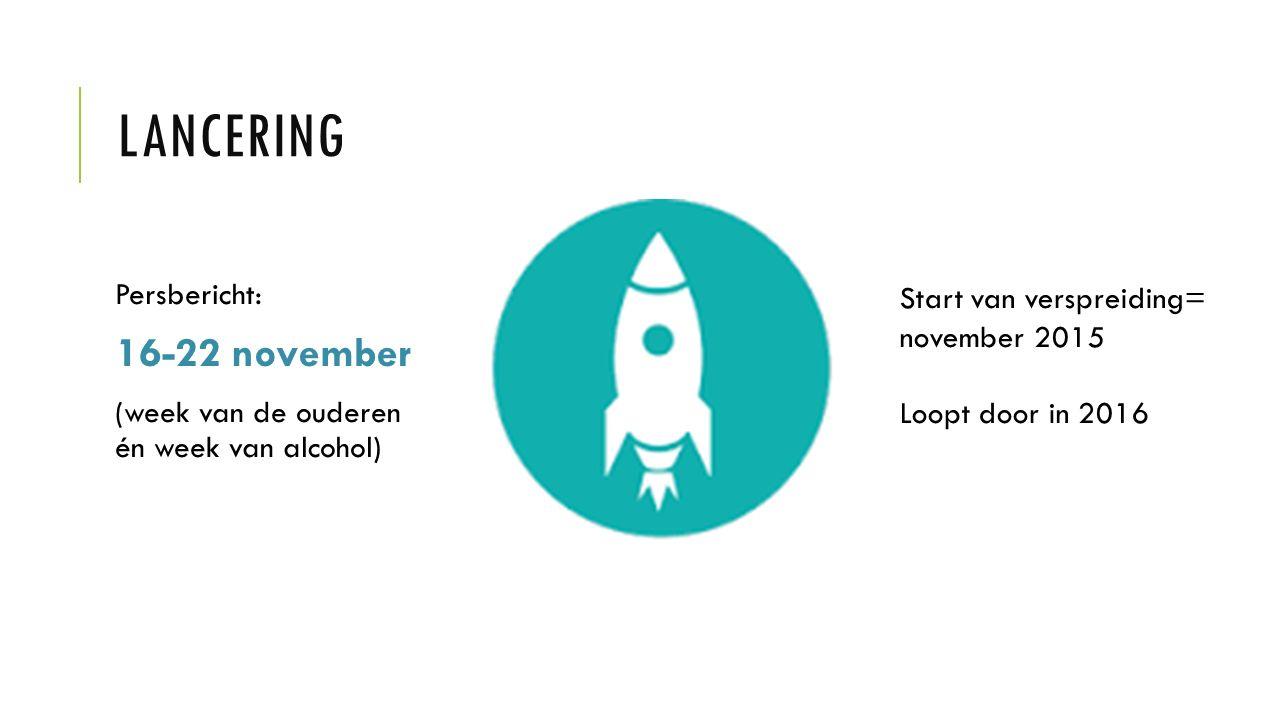 LANCERING Persbericht: 16-22 november (week van de ouderen én week van alcohol) Start van verspreiding= november 2015 Loopt door in 2016