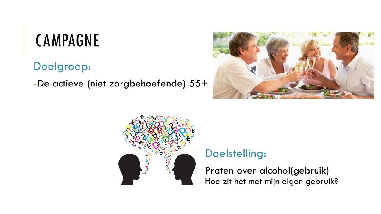 Doelgroep: -De actieve (niet zorgbehoefende) 55+ Doelstelling: Praten over alcohol(gebruik) Hoe zit het met mijn eigen gebruik?