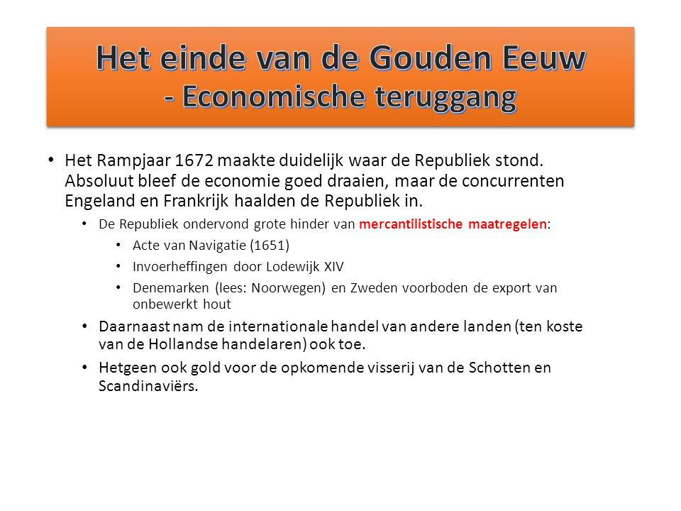 Het Rampjaar 1672 maakte duidelijk waar de Republiek stond. Absoluut bleef de economie goed draaien, maar de concurrenten Engeland en Frankrijk haalde