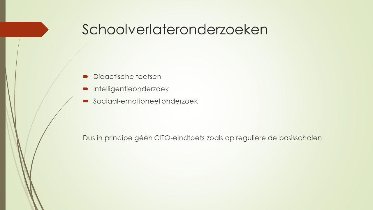 Schoolverlateronderzoeken  Didactische toetsen  Intelligentieonderzoek  Sociaal-emotioneel onderzoek Dus in principe géén CITO-eindtoets zoals op r