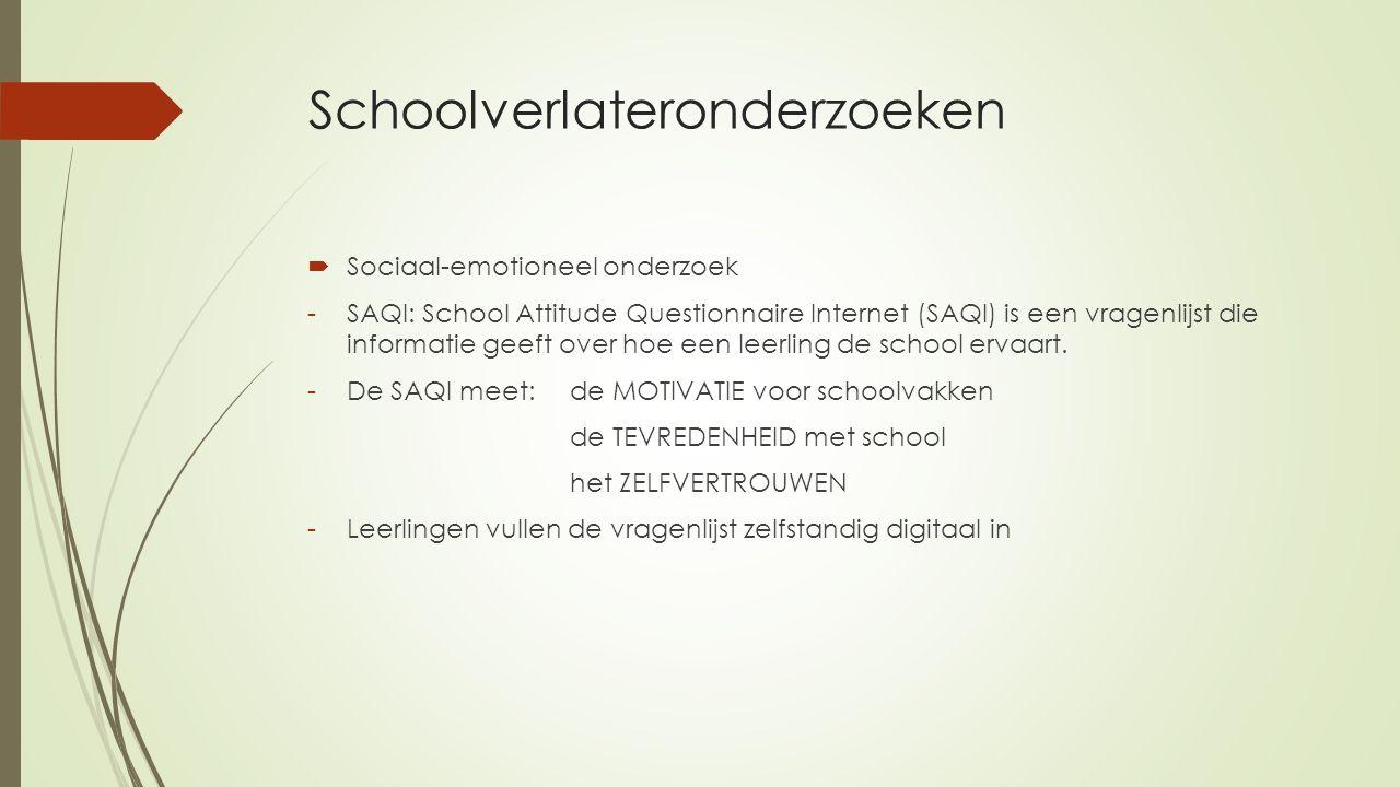Schoolverlateronderzoeken  Sociaal-emotioneel onderzoek -SAQI: School Attitude Questionnaire Internet (SAQI) is een vragenlijst die informatie geeft
