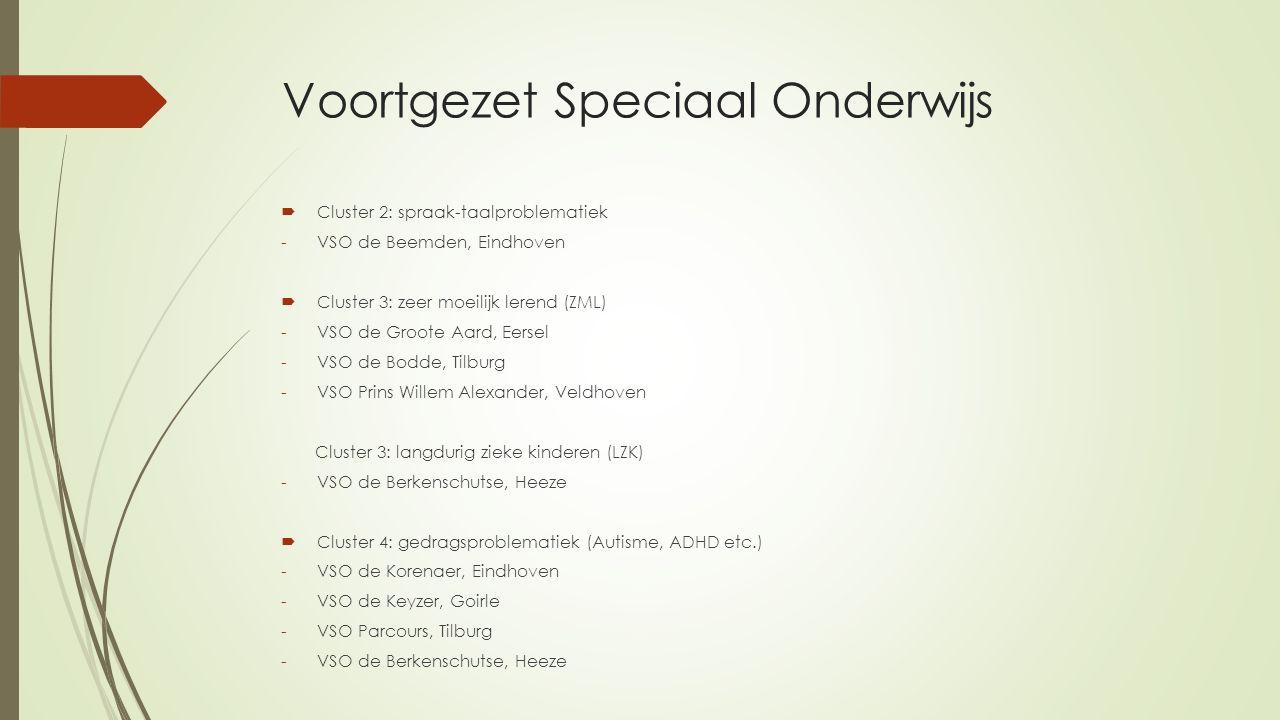 Voortgezet Speciaal Onderwijs  Cluster 2: spraak-taalproblematiek -VSO de Beemden, Eindhoven  Cluster 3: zeer moeilijk lerend (ZML) -VSO de Groote A
