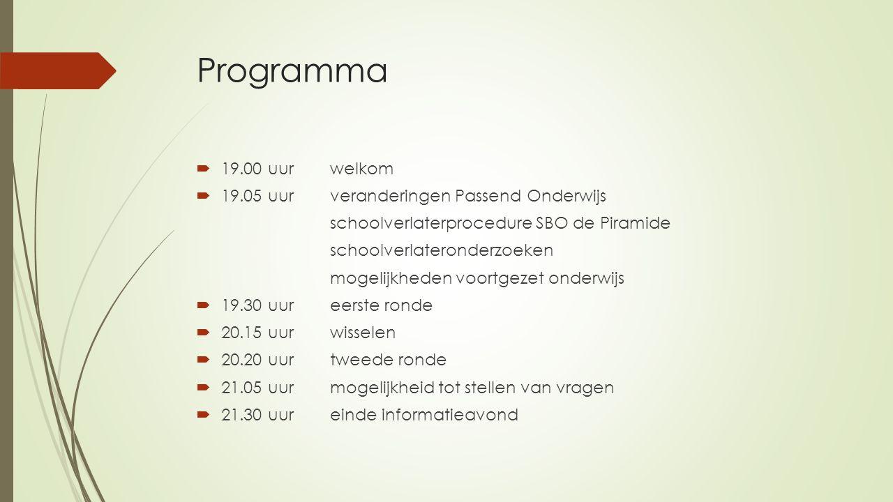 Programma  19.00 uur welkom  19.05 uur veranderingen Passend Onderwijs schoolverlaterprocedure SBO de Piramide schoolverlateronderzoeken mogelijkhed