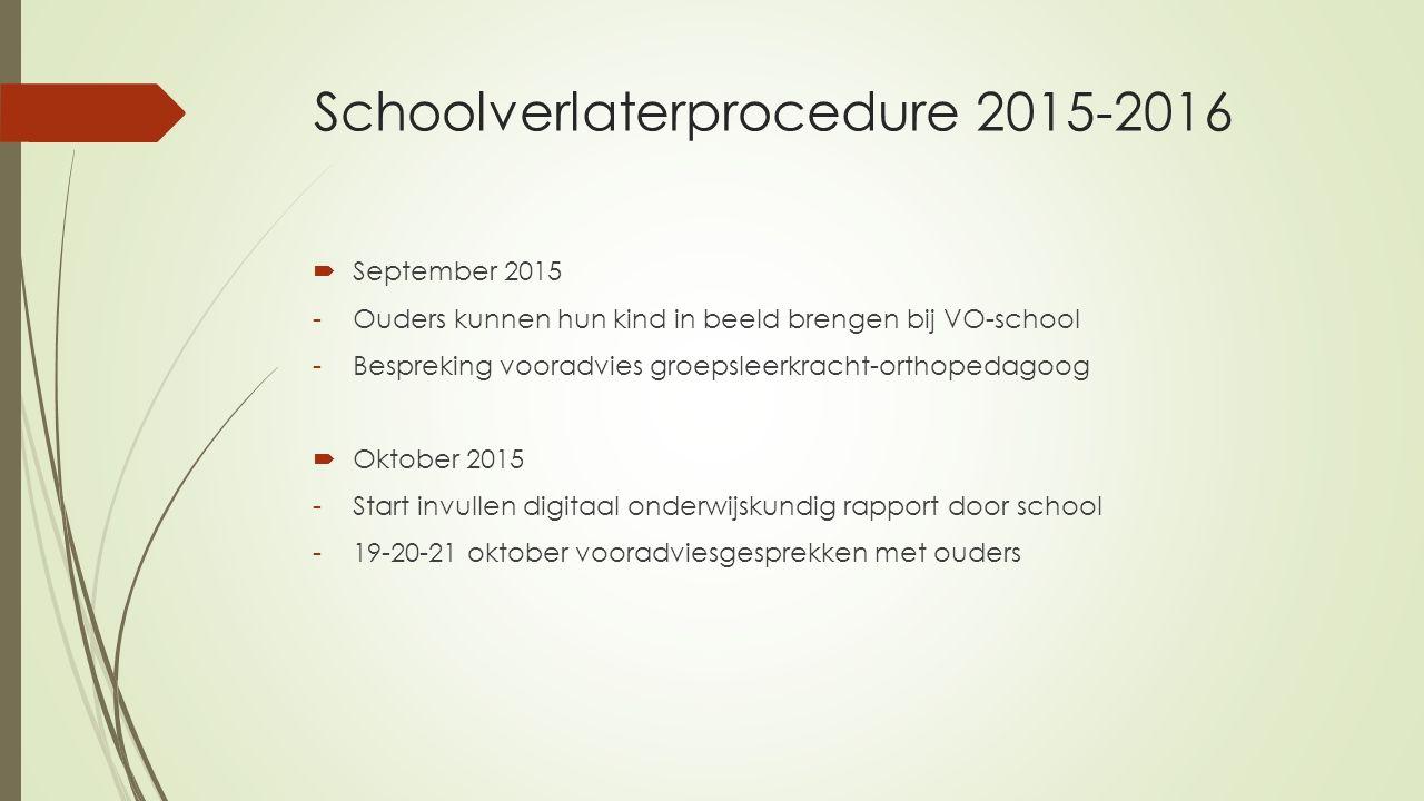 Schoolverlaterprocedure 2015-2016  September 2015 -Ouders kunnen hun kind in beeld brengen bij VO-school -Bespreking vooradvies groepsleerkracht-orth