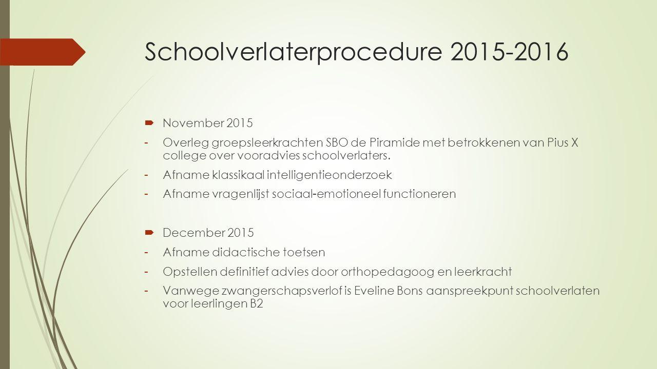 Schoolverlaterprocedure 2015-2016  November 2015 -Overleg groepsleerkrachten SBO de Piramide met betrokkenen van Pius X college over vooradvies schoo