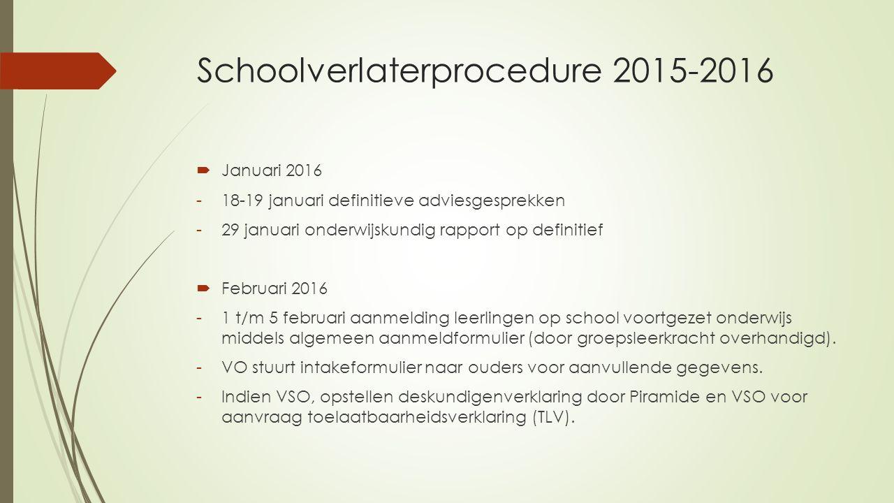 Schoolverlaterprocedure 2015-2016  Januari 2016 -18-19 januari definitieve adviesgesprekken -29 januari onderwijskundig rapport op definitief  Febru