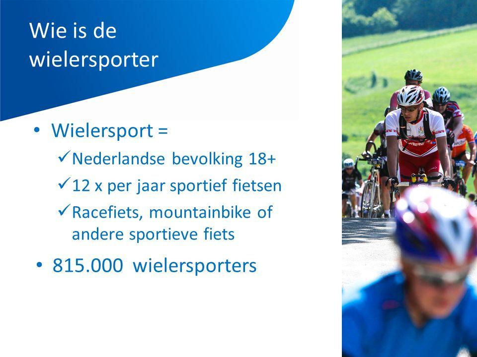 Wie is de wielersporter Wielersport = Nederlandse bevolking 18+ 12 x per jaar sportief fietsen Racefiets, mountainbike of andere sportieve fiets 815.000 wielersporters