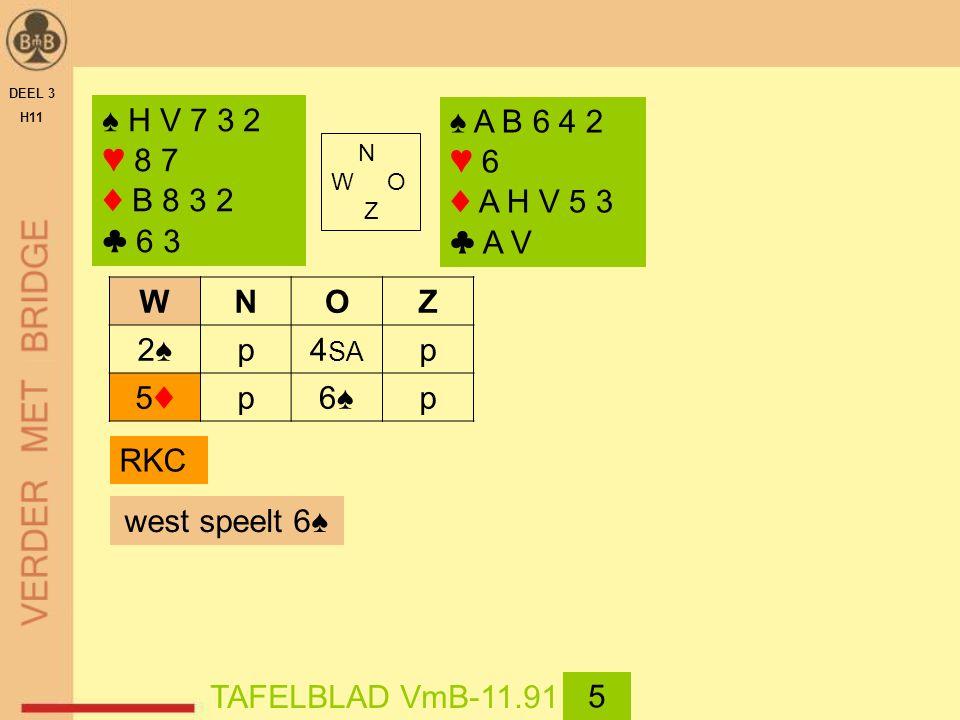 DEEL 3 H11 ♠ H V 7 3 2 ♥ 8 7 ♦ B 8 3 2 ♣ 6 3 N W O Z ♠ A B 6 4 2 ♥ 6 ♦ A H V 5 3 ♣ A V west speelt 6♠ TAFELBLAD VmB-11.91 5 WNOZ 2♠2♠p4 SA p 5♦5♦p6♠6♠p RKC