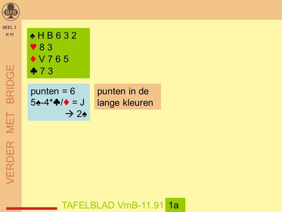 DEEL 3 H 11 TAFELBLAD VmB-11.91 1a ♠ H B 6 3 2 ♥ 8 3 ♦ V 7 6 5 ♣ 7 3 punten = 6 5♠-4 + ♣/♦ = J  2♠ punten in de lange kleuren