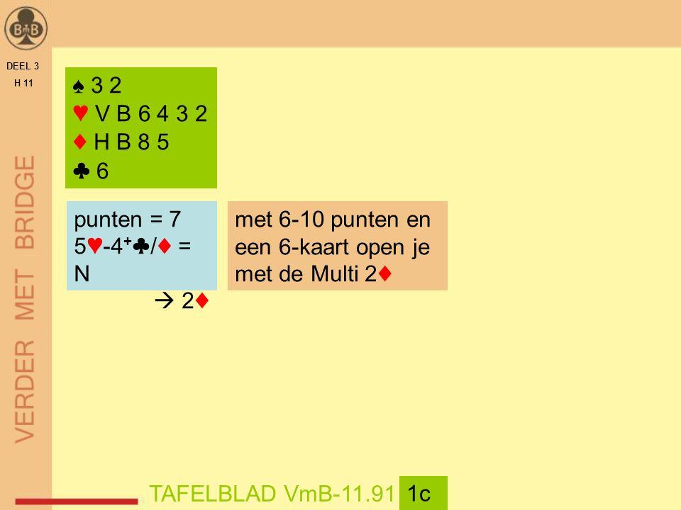 DEEL 3 H 11 TAFELBLAD VmB-11.91 1c ♠ 3 2 ♥ V B 6 4 3 2 ♦ H B 8 5 ♣ 6 punten = 7 5♥-4 + ♣/♦ = N  2♦ met 6-10 punten en een 6-kaart open je met de Multi 2♦