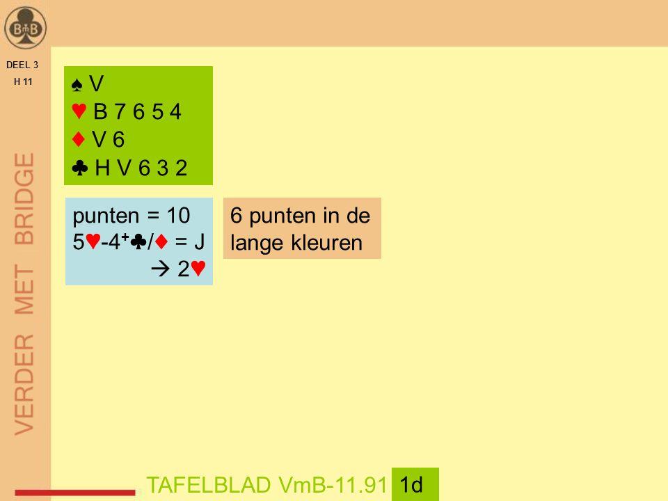 DEEL 3 H 11 TAFELBLAD VmB-11.91 1d ♠ V ♥ B 7 6 5 4 ♦ V 6 ♣ H V 6 3 2 punten = 10 5♥-4 + ♣/♦ = J  2♥ 6 punten in de lange kleuren