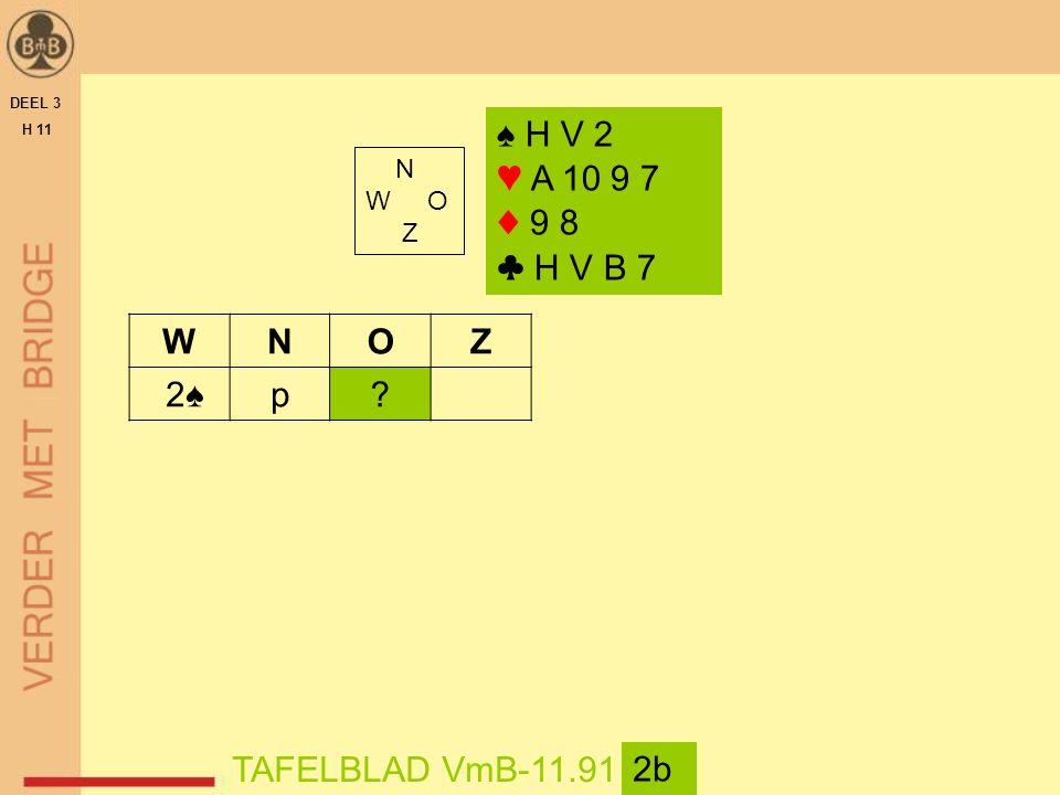 DEEL 3 H 11 N W O Z TAFELBLAD VmB-11.91 2b ♠ H V 2 ♥ A 10 9 7 ♦ 9 8 ♣ H V B 7 WNOZ 2♠p