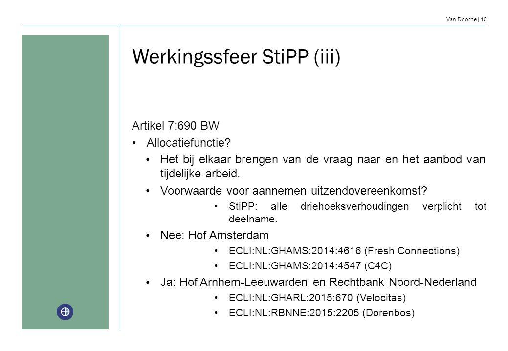 Van Doorne | 10 Werkingssfeer StiPP (iii) Artikel 7:690 BW Allocatiefunctie? Het bij elkaar brengen van de vraag naar en het aanbod van tijdelijke arb