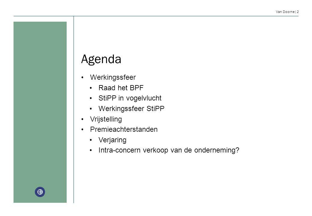 Van Doorne | 2 Agenda Werkingssfeer Raad het BPF StiPP in vogelvlucht Werkingssfeer StiPP Vrijstelling Premieachterstanden Verjaring Intra-concern ver