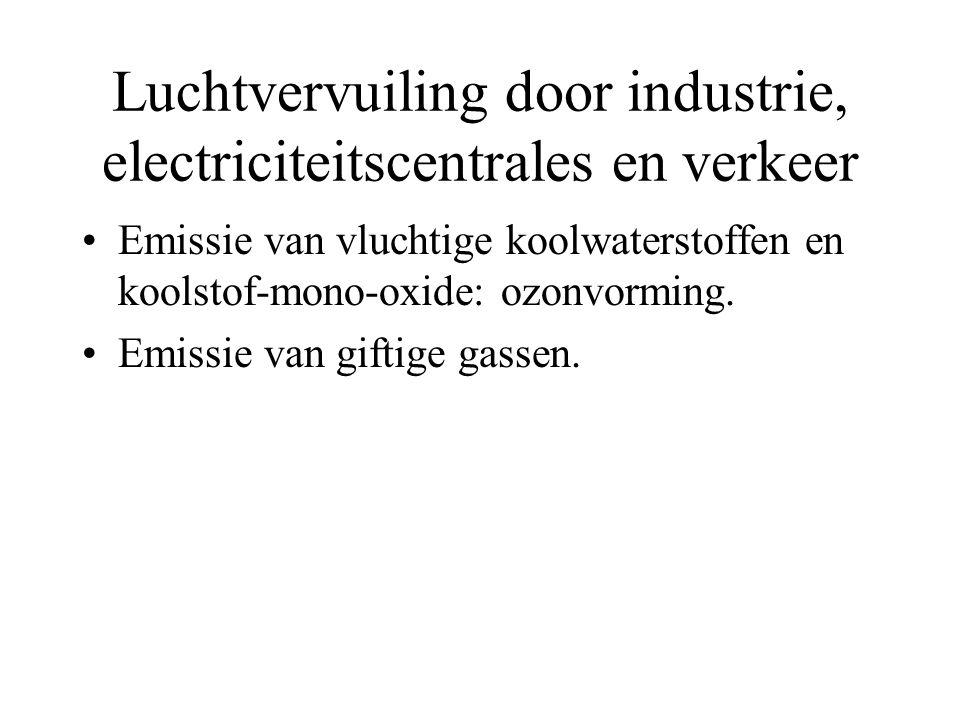 Luchtvervuiling door industrie, electriciteitscentrales en verkeer Emissie van vluchtige koolwaterstoffen en koolstof-mono-oxide: ozonvorming. Emissie