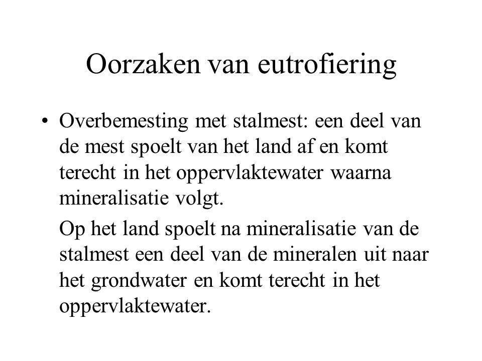 Oorzaken van eutrofiering Overbemesting met stalmest: een deel van de mest spoelt van het land af en komt terecht in het oppervlaktewater waarna miner