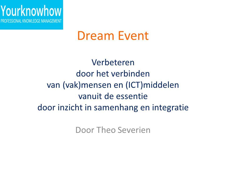 Dream Event Verbeteren door het verbinden van (vak)mensen en (ICT)middelen vanuit de essentie door inzicht in samenhang en integratie Door Theo Severi
