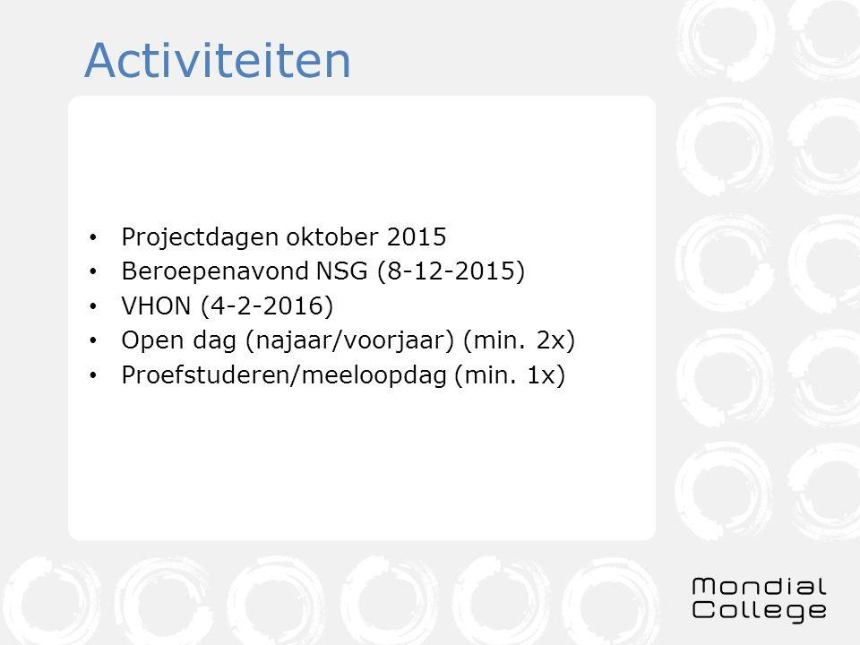 Activiteiten Projectdagen oktober 2015 Beroepenavond NSG (8-12-2015) VHON (4-2-2016) Open dag (najaar/voorjaar) (min.