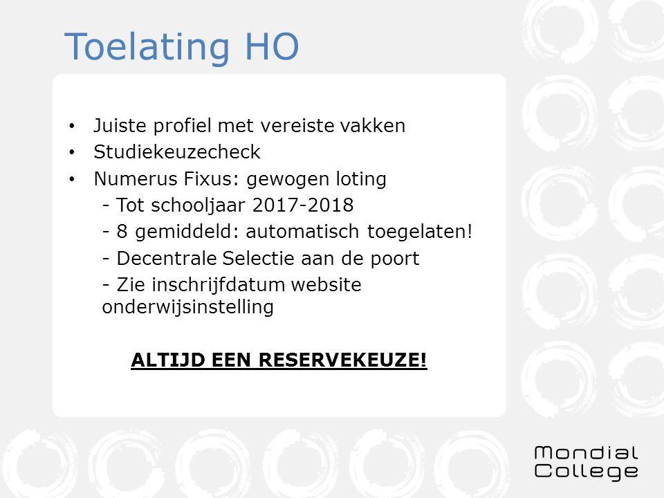 Toelating HO Juiste profiel met vereiste vakken Studiekeuzecheck Numerus Fixus: gewogen loting - Tot schooljaar 2017-2018 - 8 gemiddeld: automatisch toegelaten.