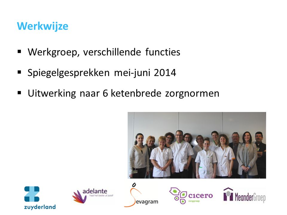 Werkwijze  Werkgroep, verschillende functies  Spiegelgesprekken mei-juni 2014  Uitwerking naar 6 ketenbrede zorgnormen