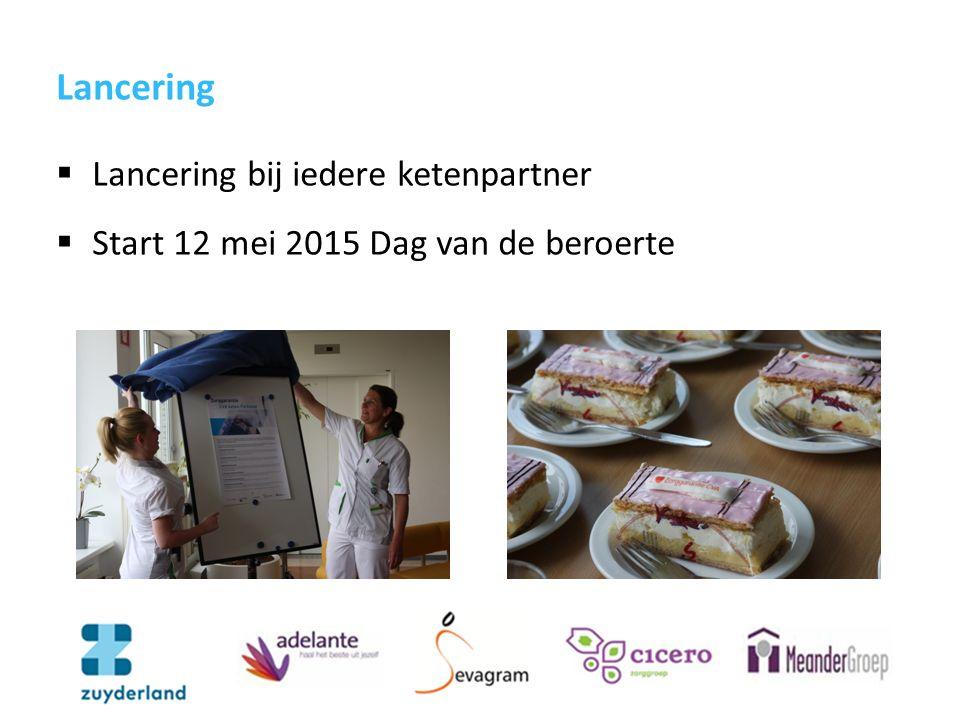 Lancering  Lancering bij iedere ketenpartner  Start 12 mei 2015 Dag van de beroerte