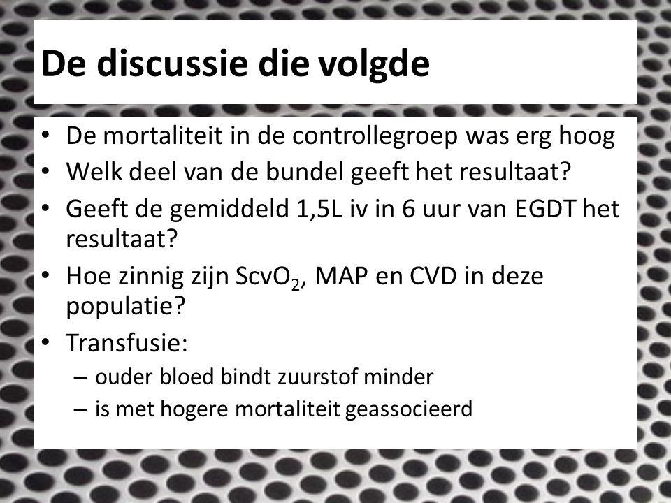 De discussie die volgde De mortaliteit in de controllegroep was erg hoog Welk deel van de bundel geeft het resultaat.