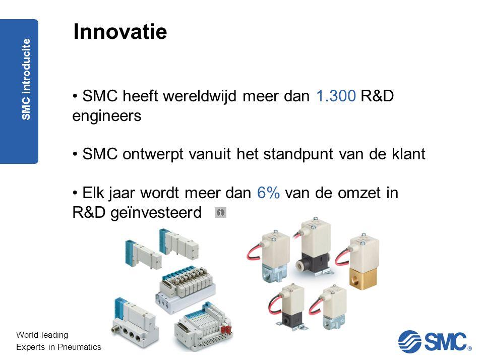 World leading Experts in Pneumatics Innovatie SMC heeft wereldwijd meer dan 1.300 R&D engineers SMC ontwerpt vanuit het standpunt van de klant Elk jaar wordt meer dan 6% van de omzet in R&D geïnvesteerd SMC introducite