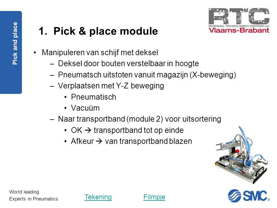 World leading Experts in Pneumatics 1. Pick & place module Pick and place Manipuleren van schijf met deksel –Deksel door bouten verstelbaar in hoogte