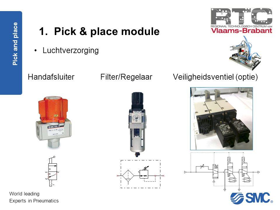 World leading Experts in Pneumatics 1. Pick & place module Pick and place Luchtverzorging Filter/RegelaarHandafsluiterVeiligheidsventiel (optie)