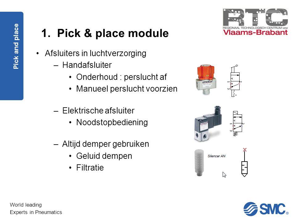 World leading Experts in Pneumatics 1. Pick & place module Pick and place Afsluiters in luchtverzorging –Handafsluiter Onderhoud : perslucht af Manuee