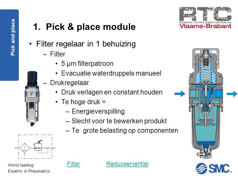 World leading Experts in Pneumatics 1. Pick & place module Pick and place Filter regelaar in 1 behuizing –Filter 5 µm filterpatroon Evacuatie waterdru