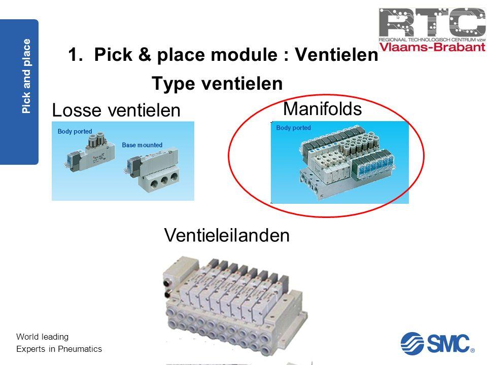 World leading Experts in Pneumatics 1. Pick & place module : Ventielen Pick and place Type ventielen Losse ventielen Manifolds Ventieleilanden