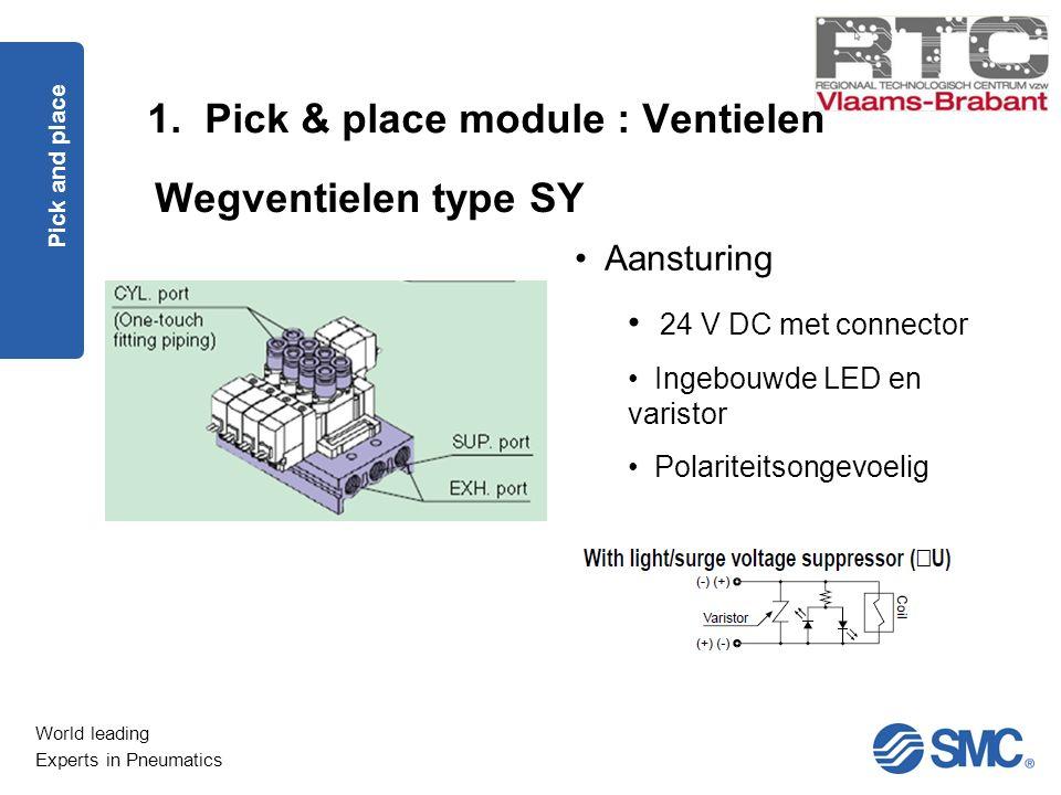 World leading Experts in Pneumatics 1. Pick & place module : Ventielen Pick and place Wegventielen type SY Aansturing 24 V DC met connector Ingebouwde