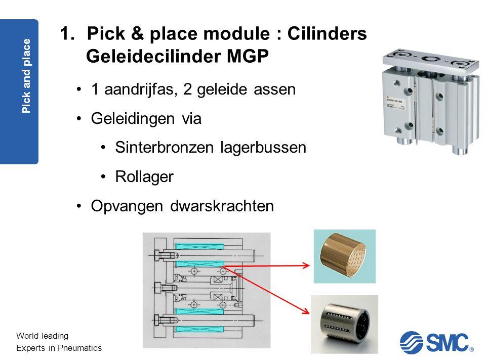 World leading Experts in Pneumatics 1.Pick & place module : Cilinders Geleidecilinder MGP Pick and place 1 aandrijfas, 2 geleide assen Geleidingen via