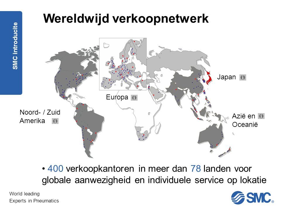 World leading Experts in Pneumatics Omzet Wereldwijd SMC introducite FY2014, ending March 31th, 2015